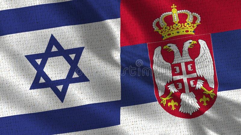 Israel och Serbien flagga - två flaggor tillsammans royaltyfria foton