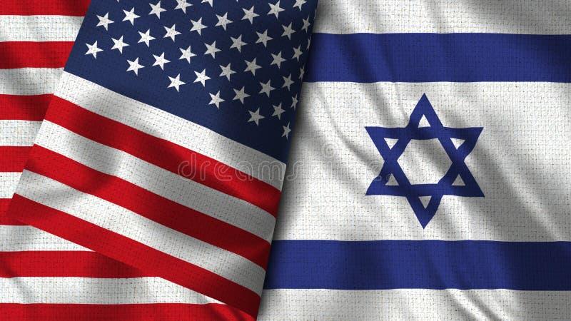 Israel och USA sjunker - 3D flaggan för illustrationen två stock illustrationer