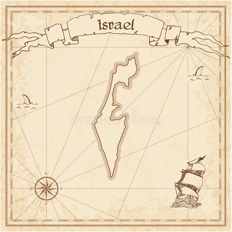 Israel old treasure map. Sepia engraved template of pirate map. Stylized pirate map on vintage paper royalty free illustration