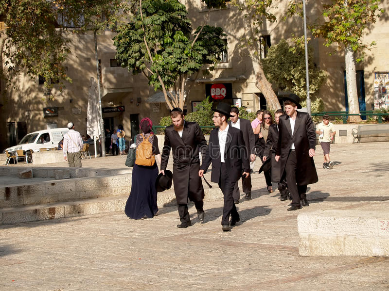 Israel. Orthodox Jews on the street of Jerusalem.  royalty free stock images