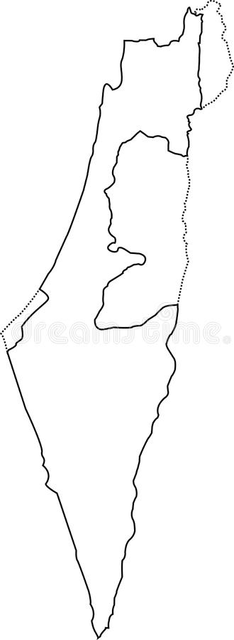 Israel outline map. With the designation of the territory of the Gaza Strip, West Bank and Golan Heights stock illustration