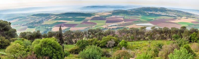 Israel Panorama av dalen från monteringen Tabor royaltyfri bild
