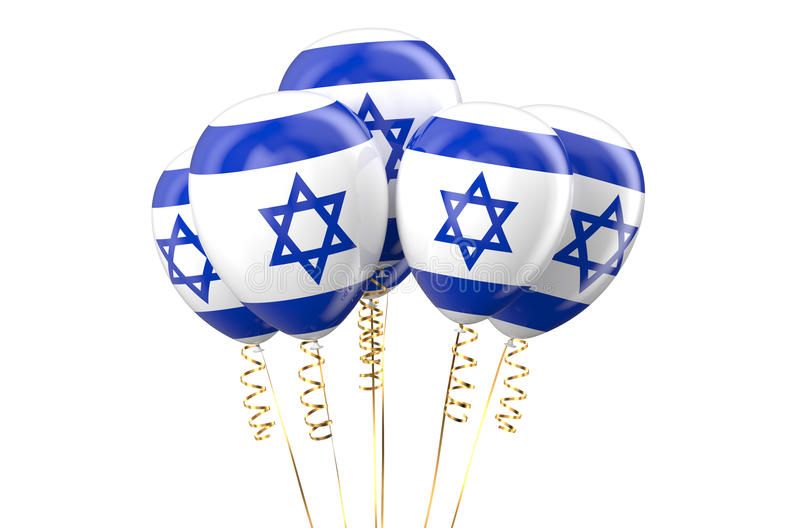 Israel patriotic balloons, holyday concept. Isolated on white background stock illustration