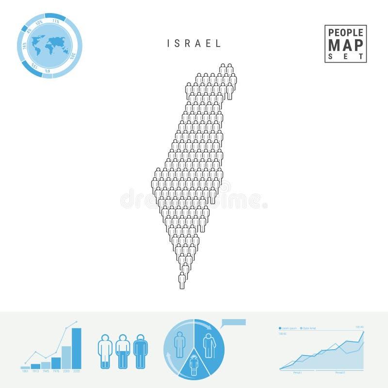 Israel People Icon Map Silhueta estilizado do vetor de Israel Crescimento demográfico e envelhecimento Infographics ilustração do vetor