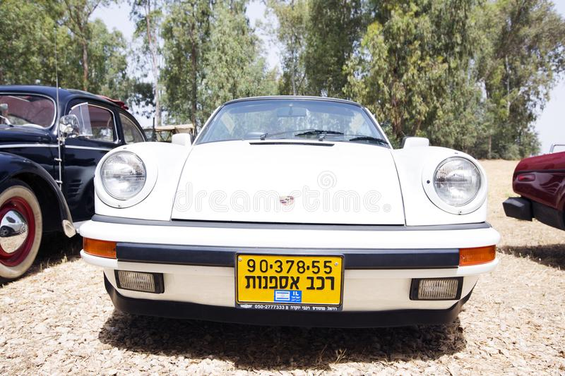 ISRAEL, PETAH TIQWA - MAY 14, 2016: Exhibition of technical antiques. Front view of Porsche 911 in Petah Tiqwa, Israel royalty free stock photo