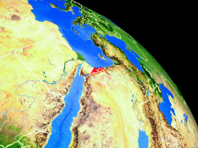 Israel on planet Earth. From space with country borders. Very fine detail of planet surface. 3D illustration. Elements of this image furnished by NASA stock illustration