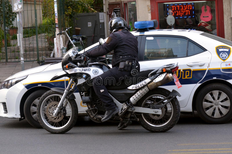 Israel Police officer on a motorbike royalty free stock photos