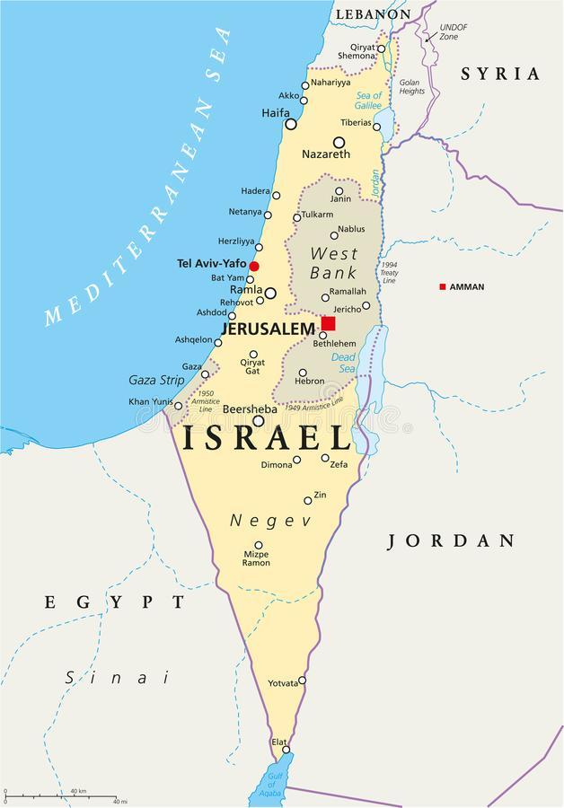 Israel Political Map. With capital Jerusalem, national borders, important cities, rivers and lakes. English labeling and scaling. Illustration stock illustration