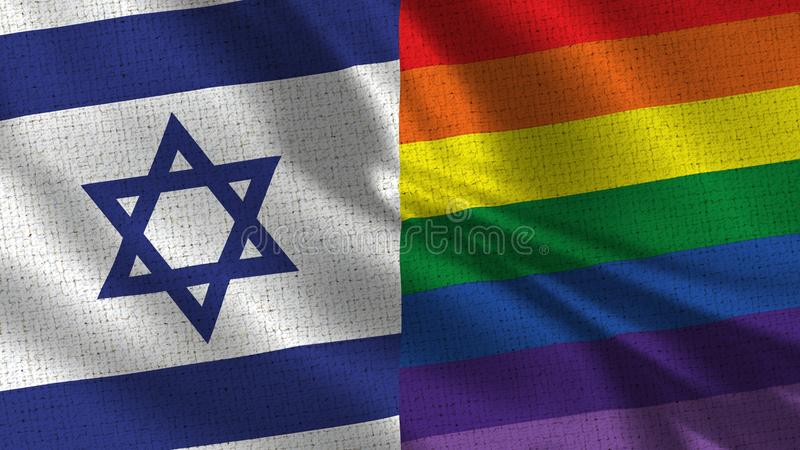 Israel and Pride Flag - Two Flags Together. Realistic wave with flags royalty free stock image