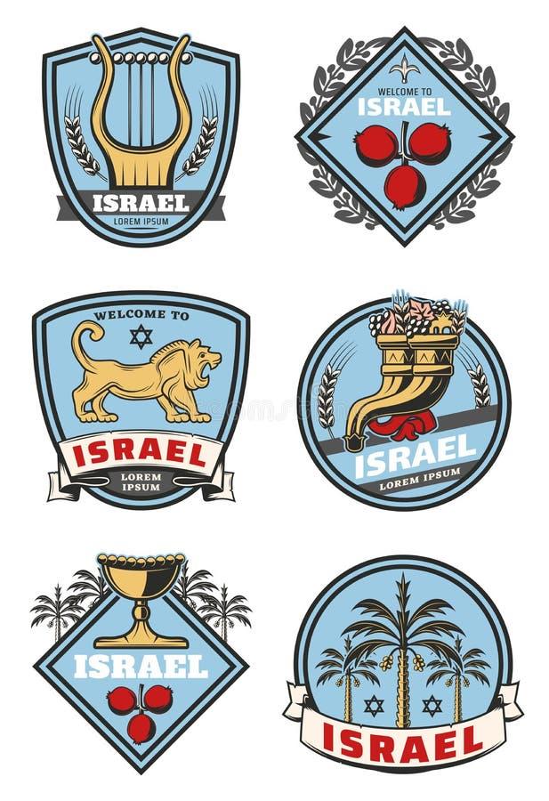 Israel-Reiseikonen und Kulturvektorsymbole vektor abbildung