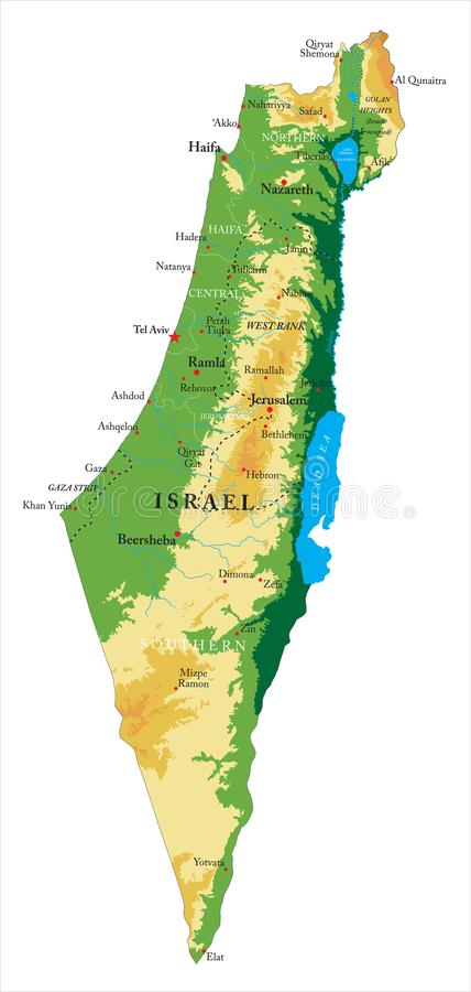 Israel relief map. Highly detailed physical map of Israel,in vector format,with all the relief forms,regions and big cities vector illustration