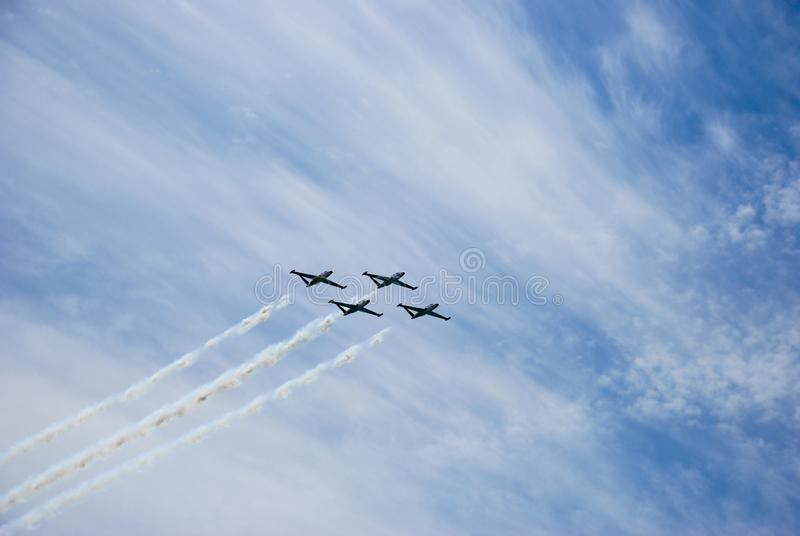 Israel`s army training airplanes in the sky at Israeli Independ stock photos