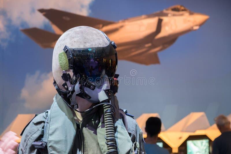 Israel`s military pilot uniform presented on military show. Israel`s military fighter pilot uniform presented on military show royalty free stock image