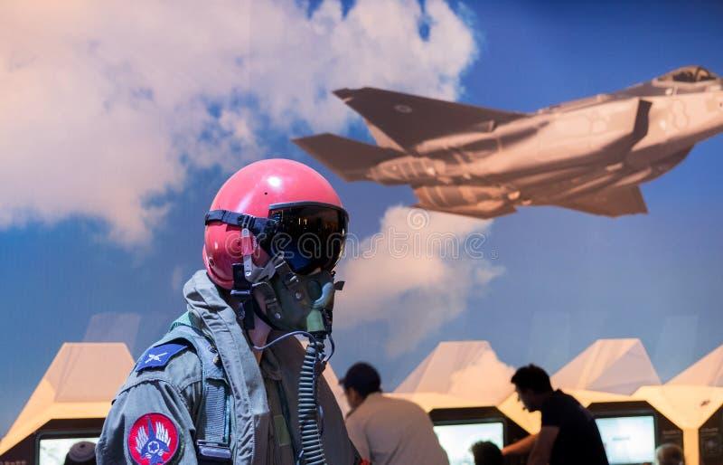 Israel`s military pilot uniform presented on military show. HOLON, ISRAEL - SEPTEMBER 28, 2018: Israel`s military pilot uniform presented on military show royalty free stock photo