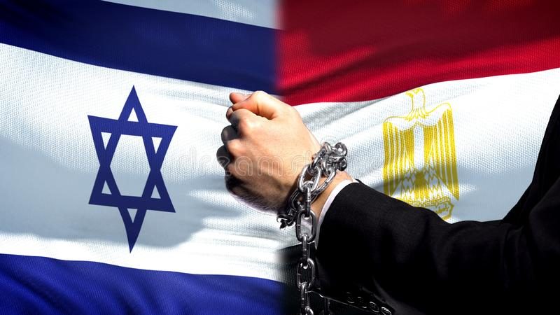 Israel sanctions Egypt, chained arms, political or economic conflict, trade ban. Stock photo stock photography