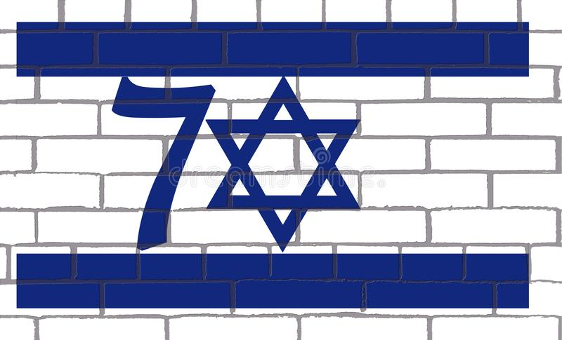 ISRAEL 70 YEARS OF FOUNDATION IN 1948 vector illustration
