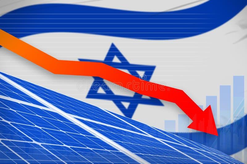 Israel-Solarenergieenergie, die Diagramm, Pfeil hinunter - alternative industrielle Illustration der natürlichen Energie senkt Ab lizenzfreie abbildung