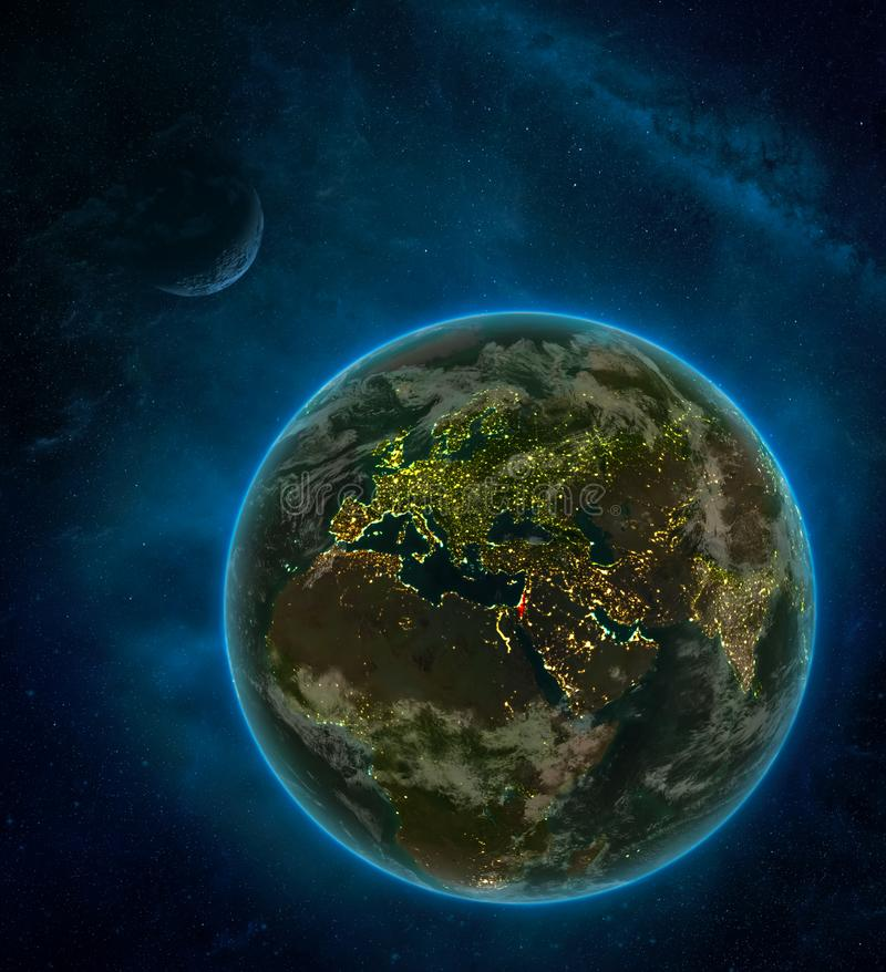 Israel from space on Earth at night surrounded by space with Moon and Milky Way. Detailed planet with city lights and clouds. 3D. Illustration. Elements of this royalty free illustration
