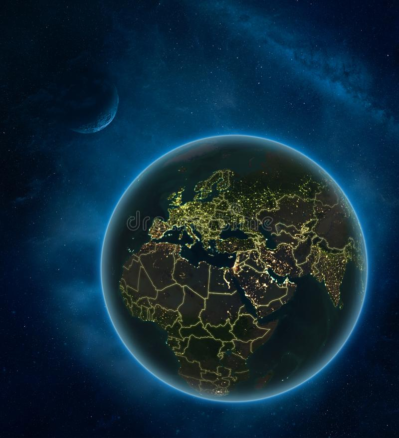 Israel from space at night. Israel at night from space with Moon and Milky Way. Detailed planet Earth with city lights and visible country borders. 3D royalty free illustration