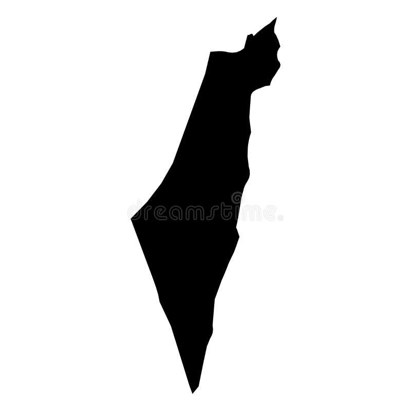 Israel - svart konturöversikt för heltäckande av landsområde Enkel plan vektorillustration royaltyfri illustrationer