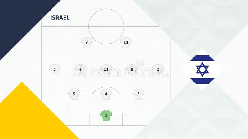 Israel team preferred system formation 3-5-2, Israel football team background for European soccer competition.  vector illustration