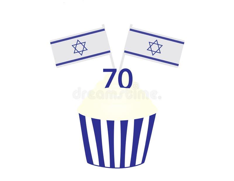 Israel 70th födelsedagmuffin med flaggor royaltyfri illustrationer