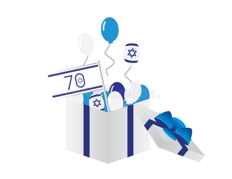 Israel 70th självständighetsdagensymbol - Israel flagga, blått- och vitballonger som flyger från en vit ask med strumpebandsorden vektor illustrationer