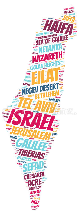 Israel top travel destinations word cloud. Israel map silhouette word cloud with most popular travel destinations vector illustration
