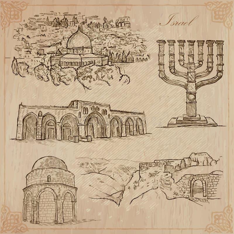 Israel - uma coleção tirada mão Bloco do vetor ilustração royalty free