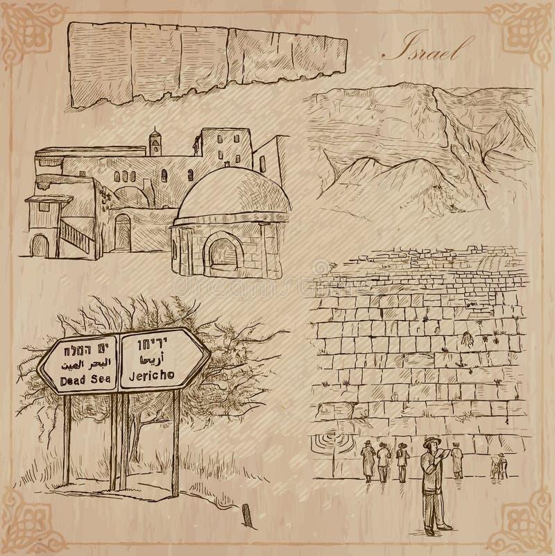 Israel - uma coleção tirada mão Bloco do vetor ilustração do vetor