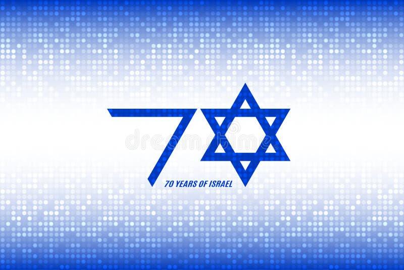 Israel-Unabhängigkeitstag 70 Jahre von Israel Kennzeichnen Sie Israel-Farben auf blauem weißem Pixelhintergrund Auch im corel abg stock abbildung
