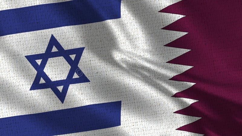 Israel- und Katar-Flagge - zwei Flaggen zusammen stockbilder