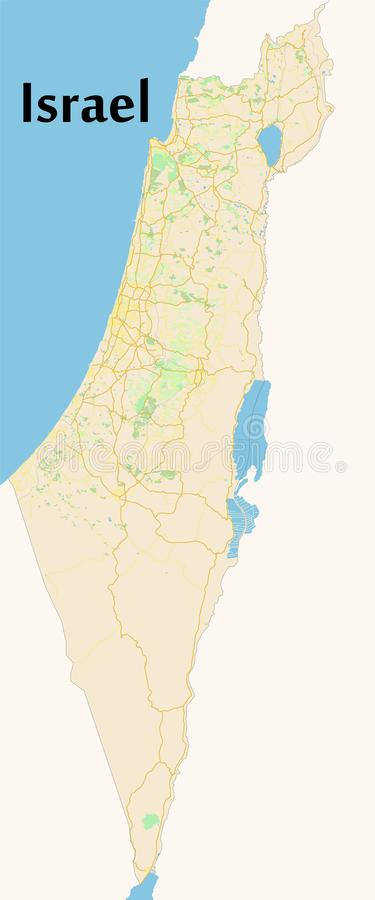 Israel. Vector map. Geographic map detailed with the designatio. N of roads, parks, sea royalty free illustration