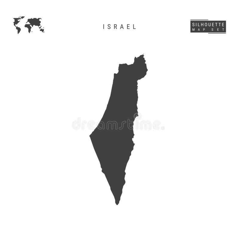 Israel Vector Map Isolated op Witte Achtergrond Hoog-High-Detailed Zwarte Silhouetkaart van Israël stock illustratie