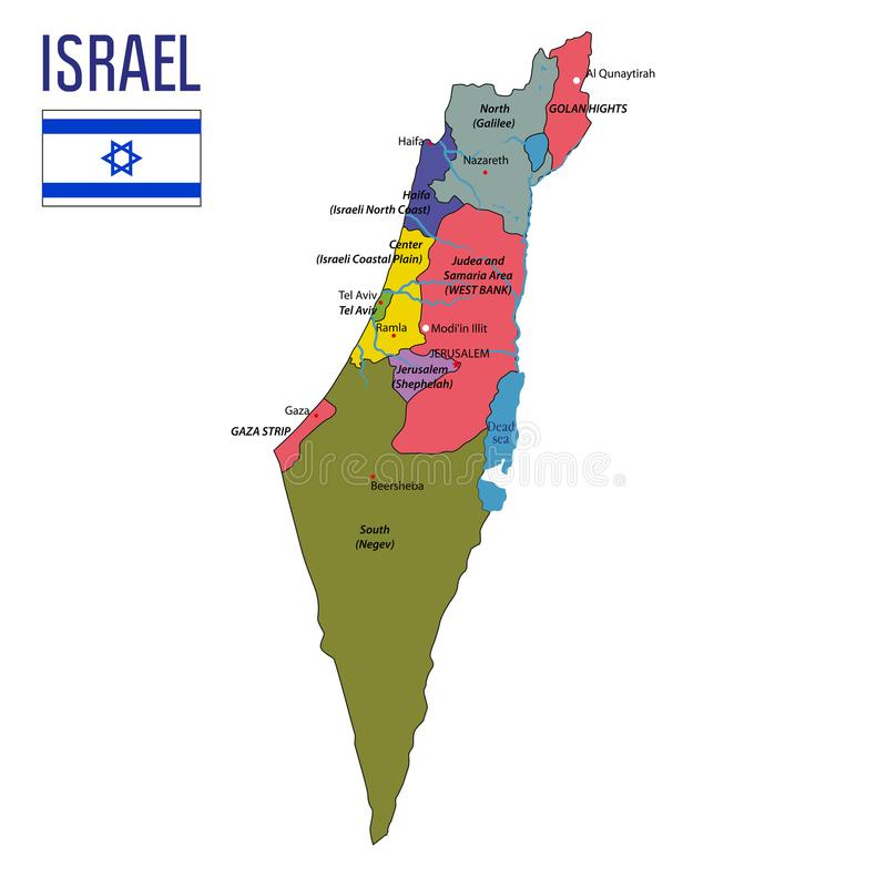 Israel-Vektorkarte mit Regionen lizenzfreie abbildung