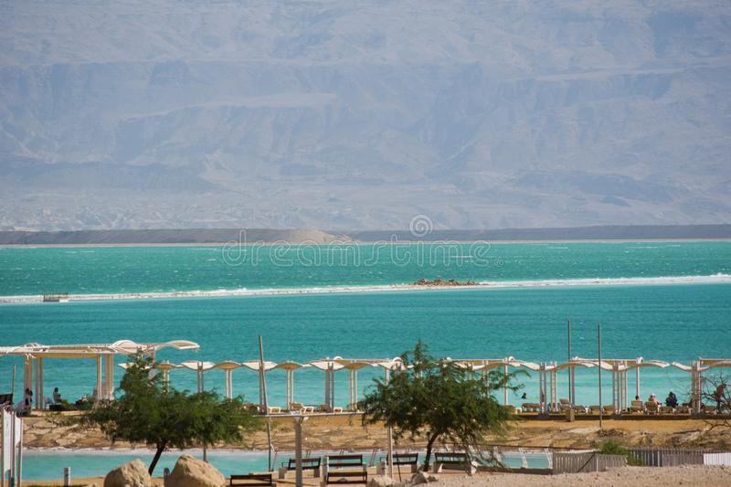Israel View of Dead Sea beach. Incredible colors of sea. royalty free stock image