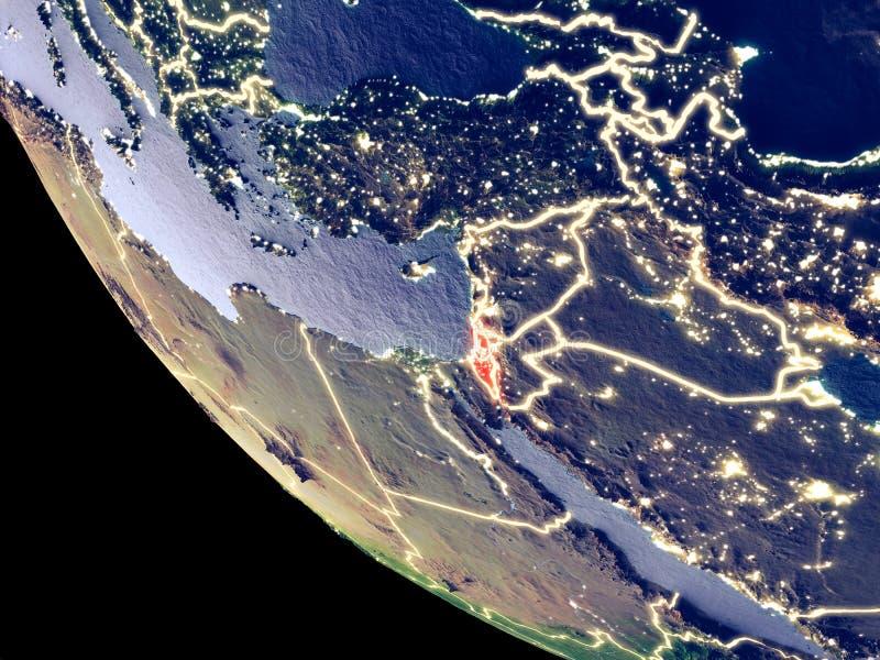 Israel vom Raum auf Erde lizenzfreie stockfotografie