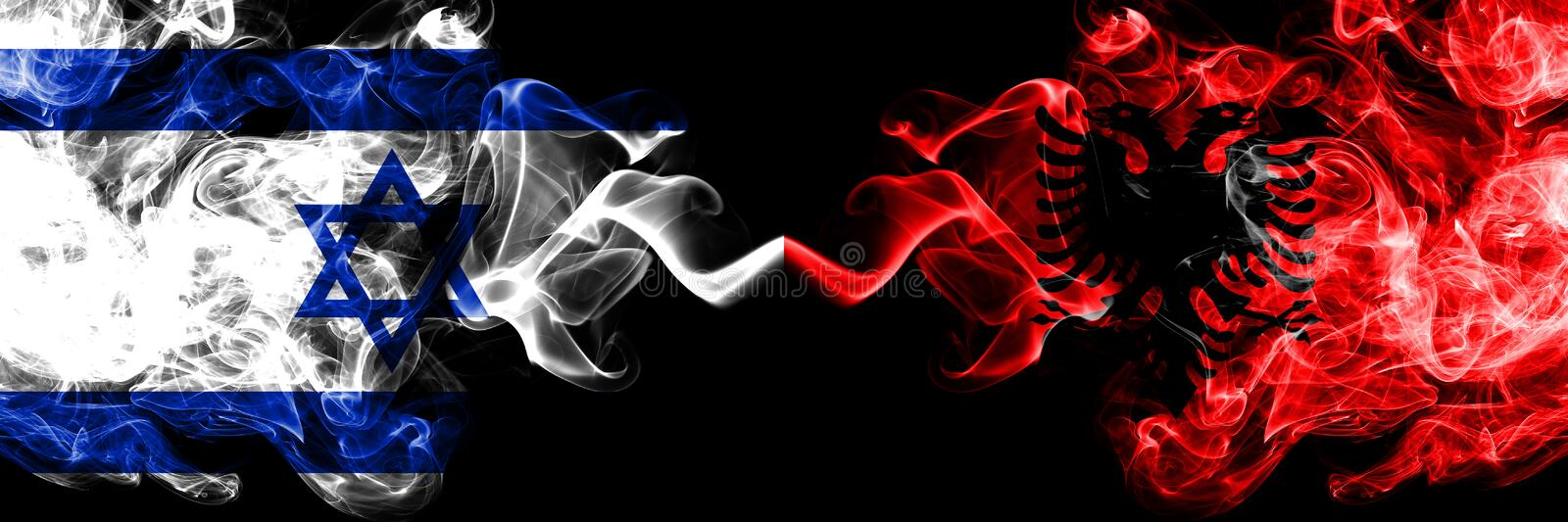 Israel vs Albania, Albanian smoky mystic flags placed side by side. Thick colored silky smokes flag of Israel and Albania, royalty free illustration