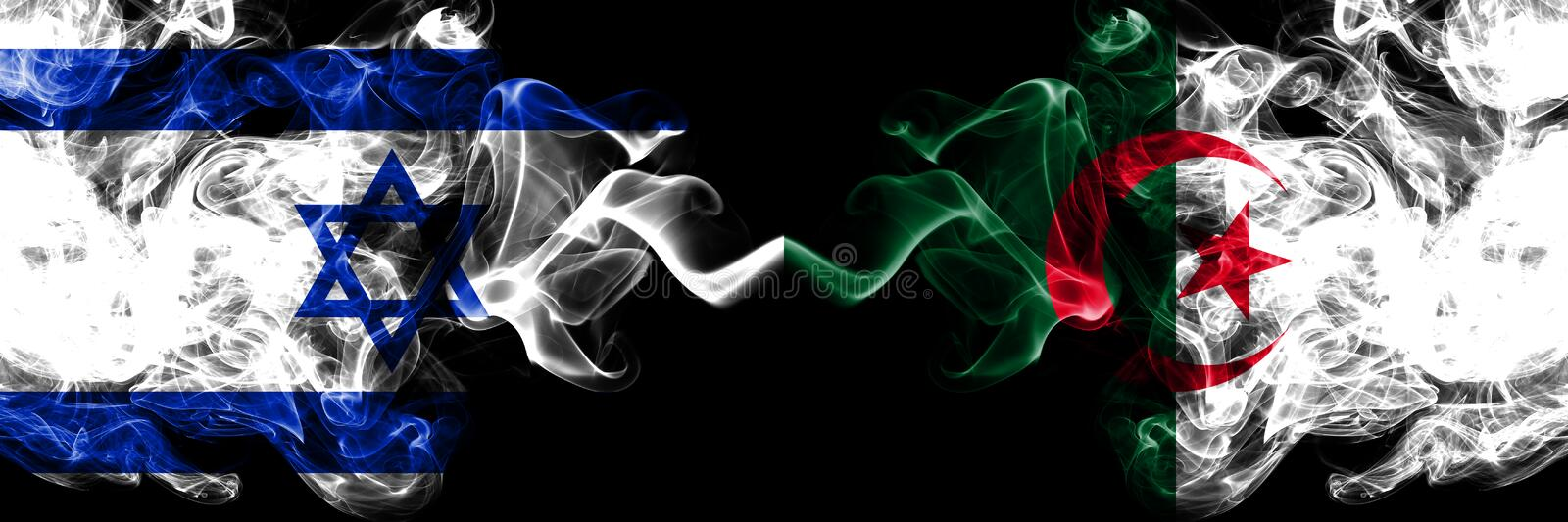 Israel vs Algeria, Algerian smoky mystic flags placed side by side. Thick colored silky smokes flag of Israel and Algeria, stock illustration