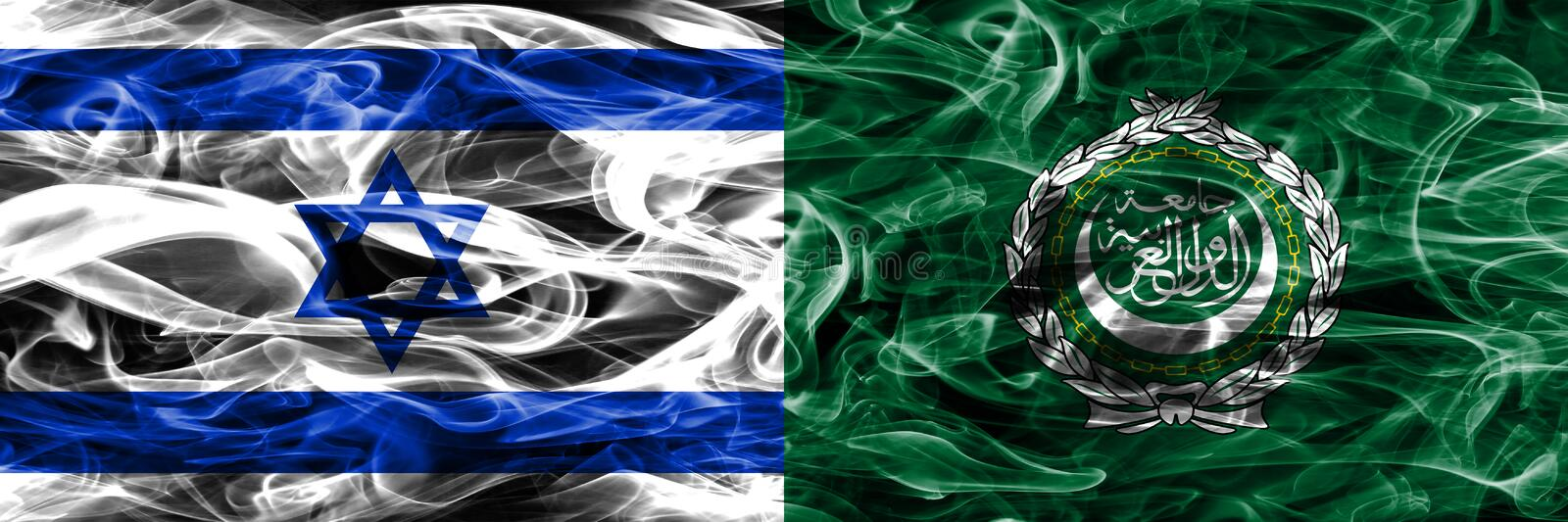 Israel vs Arab League smoke flags placed side by side. Israeli a royalty free stock photography