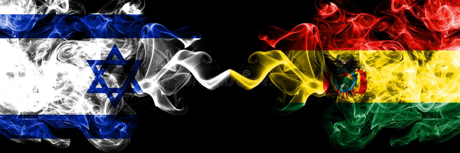 Israel vs Bolivia, Bolivian smoky mystic flags placed side by side. Thick colored silky smokes flag of Israel and Bolivia, royalty free illustration