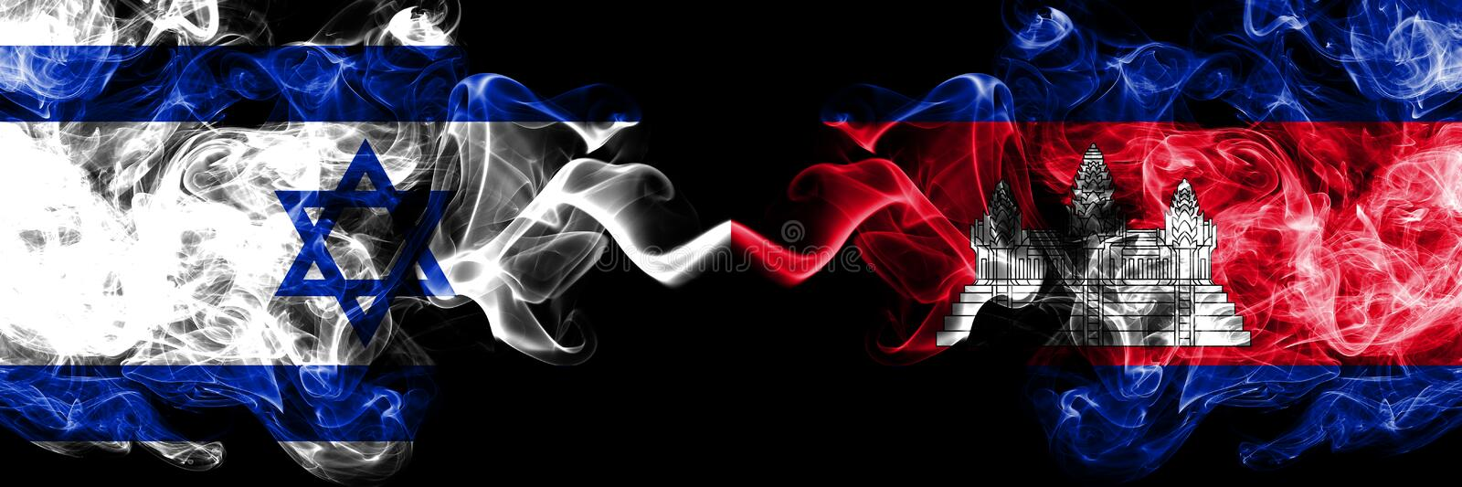 Israel vs Cambodia, Cambodian smoky mystic flags placed side by side. Thick colored silky smokes flag of Israel and Cambodia, vector illustration
