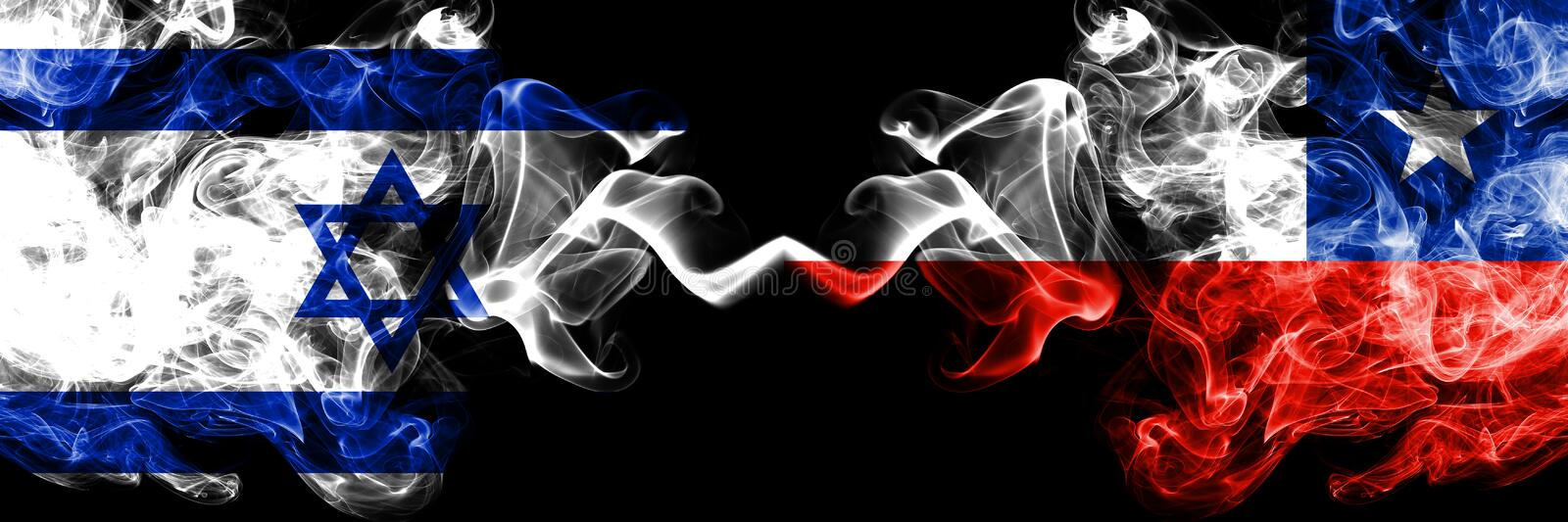 Israel vs Chile, Chilean smoky mystic flags placed side by side. Thick colored silky smokes flag of Israel and Chile, Chilean vector illustration