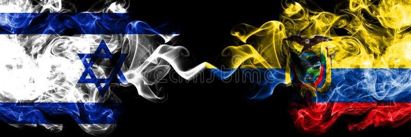 Israel vs Ecuador, ecuadorianska rökiga mystikerflaggor förlade sidan - vid - sidan Tjockt kulört silkeslent röker flaggan av Isr stock illustrationer