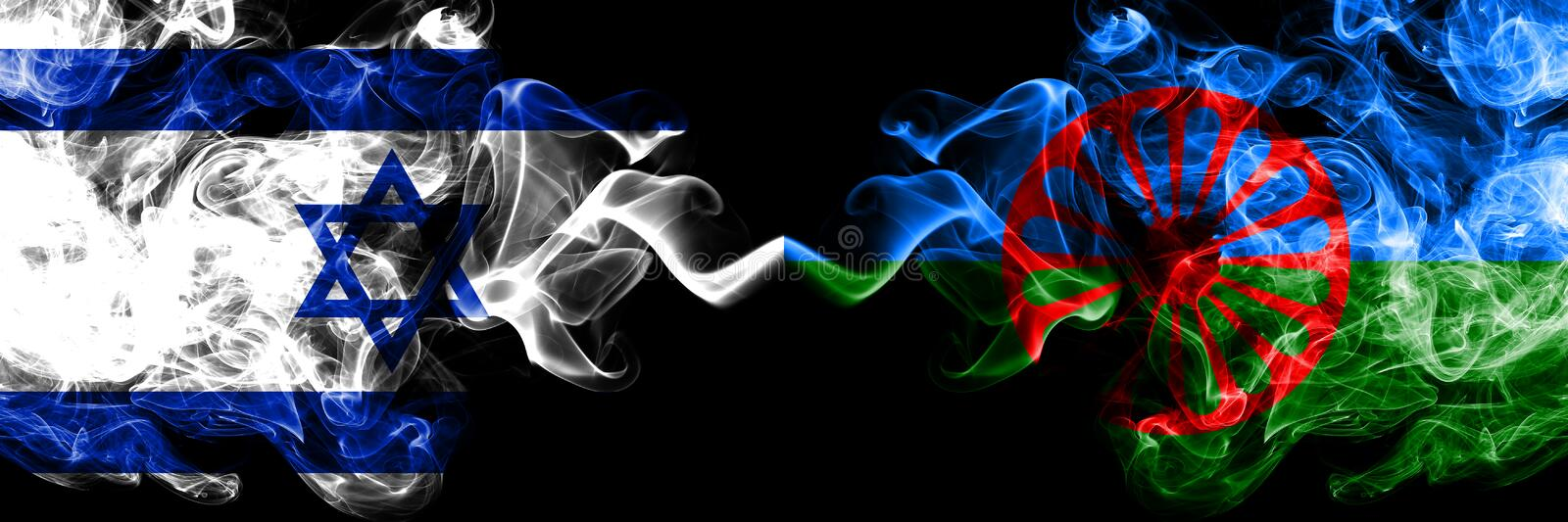 Israel vs Gipsy, Roman smoky mystic flags placed side by side. Thick colored silky smokes flag of Israel and Gipsy, Roman.  royalty free illustration