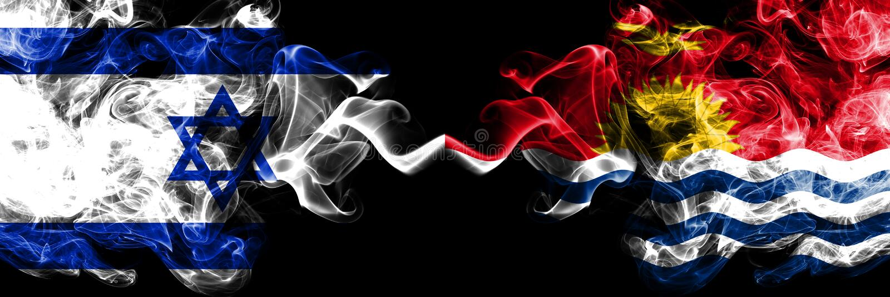 Israel vs Kiribati smoky mystic flags placed side by side. Thick colored silky smokes flag of Israel and Kiribati.  royalty free stock photo