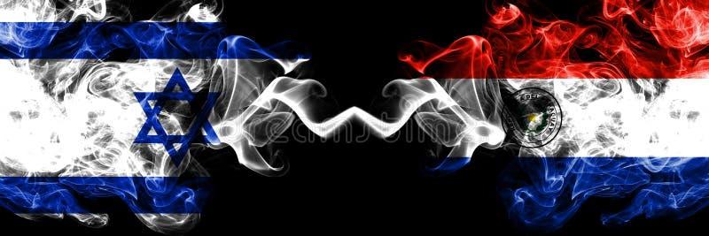 Israel vs Paraguay, paraguayanska rökiga mystikerflaggor förlade sidan - vid - sidan Tjockt kulört silkeslent röker flaggan av Is stock illustrationer
