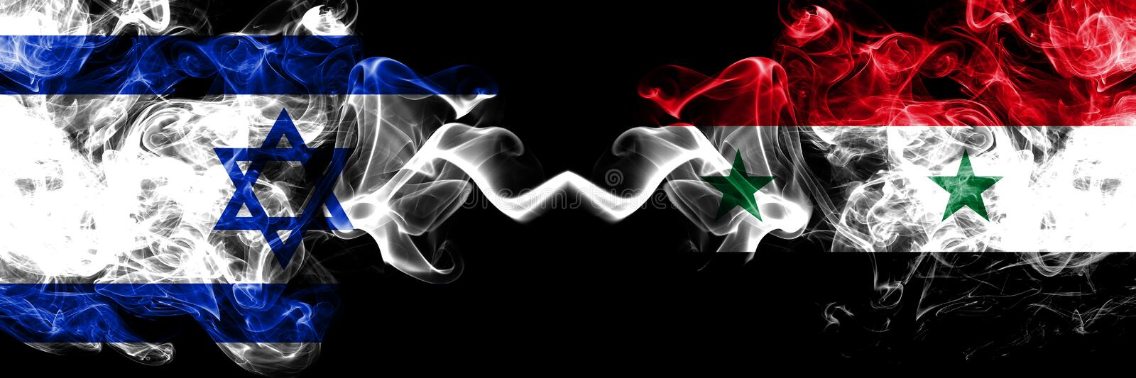 Israel vs Syria, Syrian smoky mystic flags placed side by side. Thick colored silky smokes flag of Israel and Syria, Syrian royalty free illustration