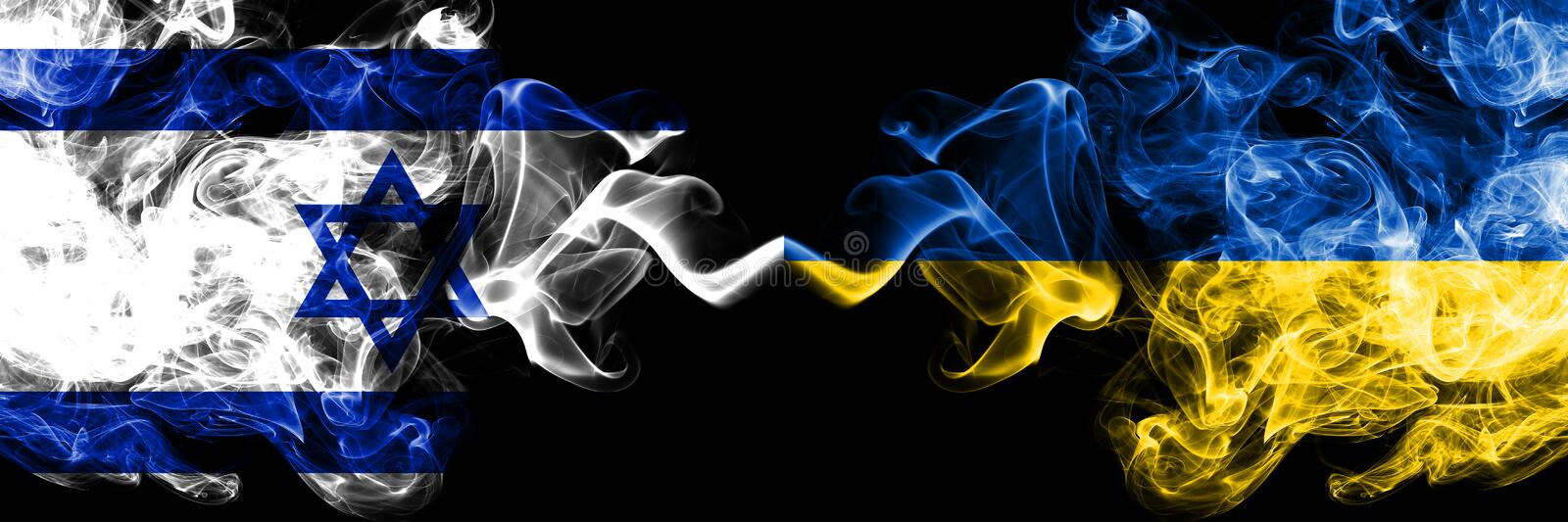 Israel vs Ukraine, Ukrainian smoky mystic flags placed side by side. Thick colored silky smokes flag of Israel and Ukraine,. Ukrainian vector illustration