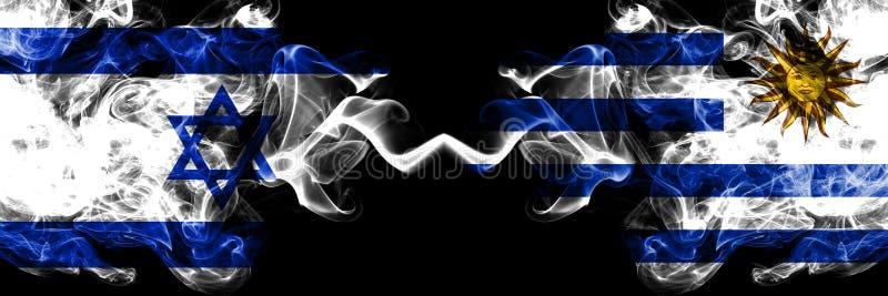 Israel vs Uruguay, uruguayanska rökiga mystikerflaggor förlade sidan - vid - sidan Tjockt kulört silkeslent röker flaggan av Isra stock illustrationer